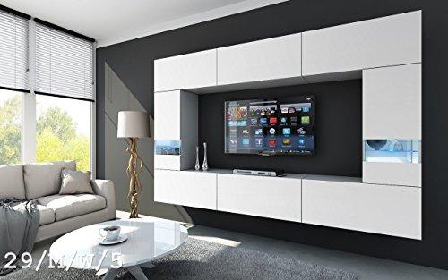 FUTURE 29 Wohnwand Anbauwand Wand Schrank TV-Schrank Wohnzimmer Wohnzimmerschrank Möbel Matt Weiß Schwarz LED RGB Beleuchtung (29/M/W/5, LED weiß)