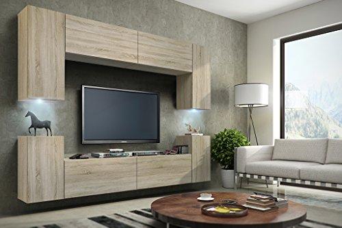FUTURE 1 Wohnwand Anbauwand Schrankwand Wohnzimmerschrank Möbel Wand TV-Ständer Wohnzimmer Matt Sonoma LED RGB Beleuchtung (Front: Sonoma / Korpus: Sonoma, LED weiß)