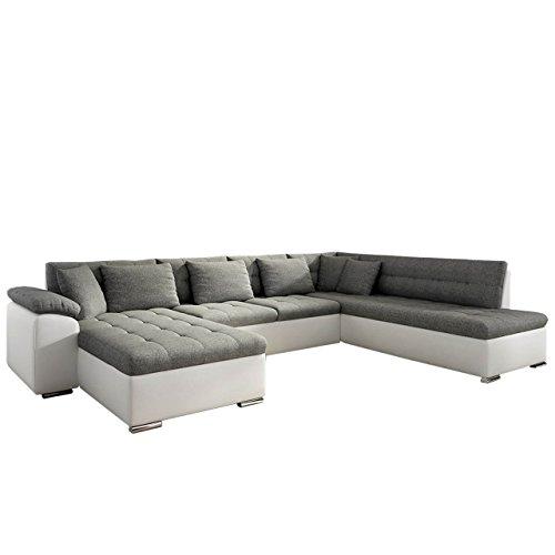 Eckcouch Ecksofa Niko Bis! Design Sofa Couch! mit Schlaffunktion und Bettkasten! U-Sofa Große Farbauswahl! Wohnlandschaft vom Hersteller (Ecksofa Links, Soft 017 + Lux 06)