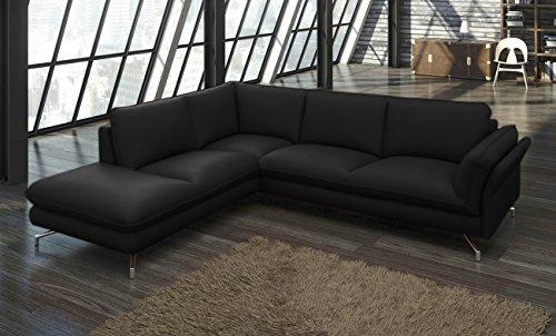 SAM® Design Ecksofa Vivano in schwarz Polsterecke 265 x 220 cm pflegeleichte Oberfläche modernes Design Füße aus Aluminium Kopfstützen optional anbringbar