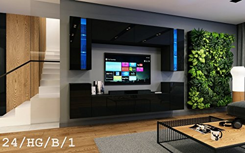 FUTURE 24 Wohnwand Anbauwand Wand Schrank Wohnzimmerschrank Möbel Wohnzimmer TV-Schrank Hochglanz Weiß Schwarz LED RGB Beleuchtung (24/HG/B/1, LED weiß)