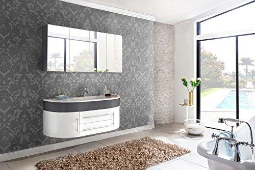 SAM® Badmöbel-Set 2-tlg, Dali, grau/weiß, Softclose Badezimmermöbel, Waschplatz 140 cm Mineralgussbecken, Spiegelschrank
