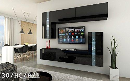 FUTURE 30 Wohnwand Anbauwand Wand Schrank Möbel Wohnzimmerschrank Wohnzimmer TV-Schrank Hochglanz Weiß Schwarz LED RGB Beleuchtung (30/HG/B/1, RGB)