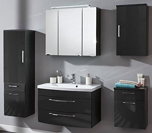 Komplett Badmbel Set Hochglanz anthrazit Waschplatz Badezimmer Waschtisch