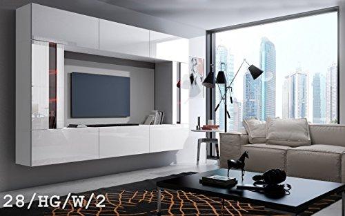 FUTURE 28 Moderne Wohnwand, Exklusive Mediamöbel, TV-Schrank, Schrankwand, TV-Element Anbauwand, Neue Garnitur, Große Farbauswahl (RGB LED-Beleuchtung Verfügbar) (28_HG_W_2, Weiß LED)