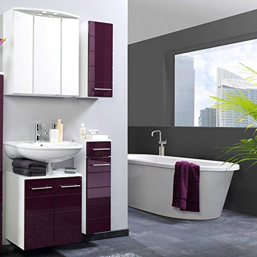 Modernes Badezimmer 4-tlg Set Hochglanz aubergine Badmbel Bad Waschplatz Badset