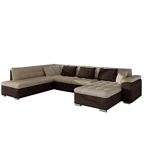 Eckcouch Ecksofa Niko! Design Sofa Couch! mit Schlaffunktion! U-Sofa Große Farbauswahl! Wohnlandschaft! (Ecksofa Rechts, Cairo 35 + Cairo 22)
