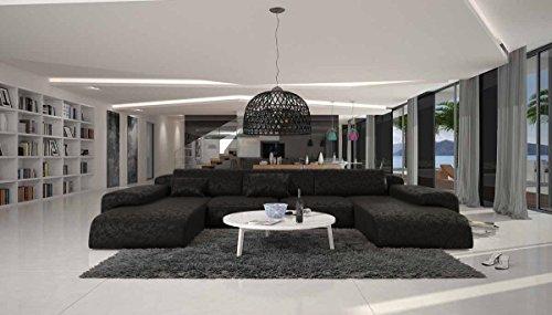 Wohn-Landschaft XXL mit schwarzem Microfaser 400x250 cm U-Form | Relas-U | Design Sofa-Garnitur aus hochwertigem Polyester | Polster-Ecke XXL für Wohnzimmer schwarz 400cm x 250cm