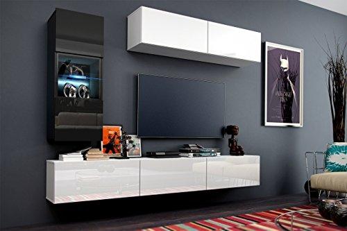 Wohnwand 12 Anbauwand Moderne Wohnwand Hochglanz Weiß Schwarz Exklusive Mediamöbel, TV-Schrank, Beleuchtung LED RGB (Hochglanz Weiß, LED)