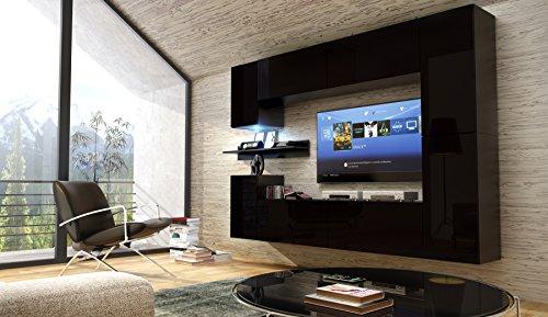 FUTURE 13 Moderne Wohnwand, Exklusive Mediamöbel, TV-Schrank, Neue Garnitur, Große Farbauswahl (RGB LED-Beleuchtung Verfügbar) (Schwarz MAT base / Schwarz MAT front, Blau LED)