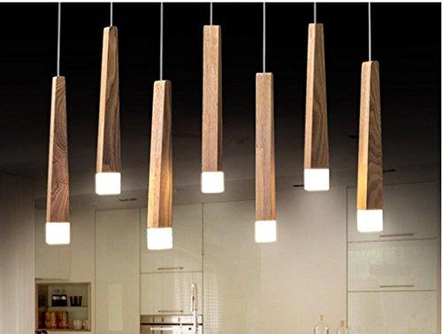 Sai Tai@LED Pendelleuchte Höhenverstellbar Küchen Deckenleuchte Wohnzimmer Designleuchte Deckenlampe Schlafzimmer Modern ,braun,Holz,75cm*8cm
