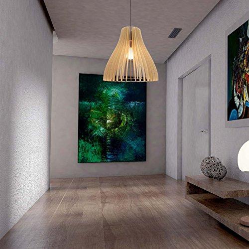 """Pendelleuchte Holz """"Nubes"""" Birkenholz Pendellampe Deckenleuchte wodewa Deckenlampe Holzlampe (Natur)"""