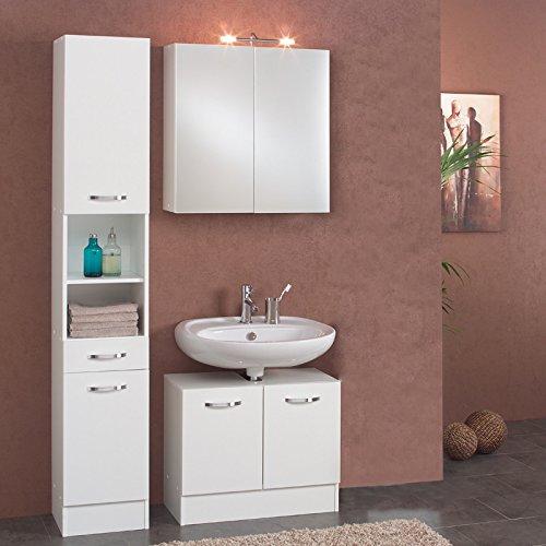 Badezimmer Set wei Badmbel Badezimmermbel Badset Bad Waschplatz Hngeschrank
