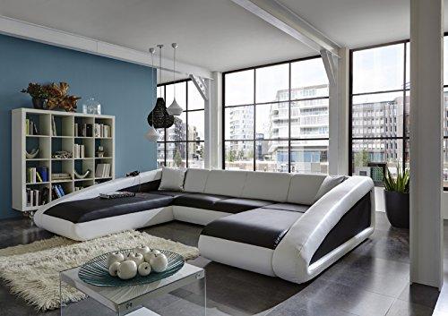 SAM® Sofa Garnitur schwarz / weiß / weiß Ciao 250 x 355 x 205 cm designed by Ricardo Paolo Ottomane links futuristisch Wohnzimmer Sofa Landschaft pflegeleichte Oberfläche Wohnlandschaft