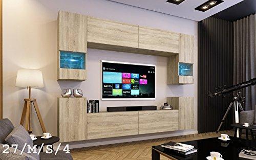 FUTURE 27 Moderne Wohnwand, Exklusive Mediamöbel, TV-Schrank, Schrankwand, TV-Element Anbauwand, Neue Garnitur, Große Farbauswahl (RGB LED-Beleuchtung Verfügbar) (27_M_S_4, Möbel)