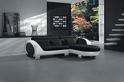 SAM® Ecksofa Vigo Combi 1 242 x 181 cm Schwarz Schwarz Weiß rechts Polsterecke Wohnzimmer Couch Sofa