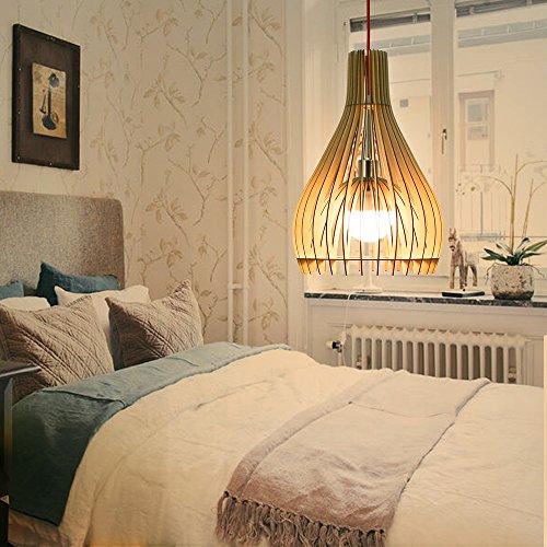 HROOME Vintage Modern DIY Hölzern Rustikal Hängende Lampen Holz Pendelleuchten Kuppel Kronleuchter Deckenlampe Lampenschirm