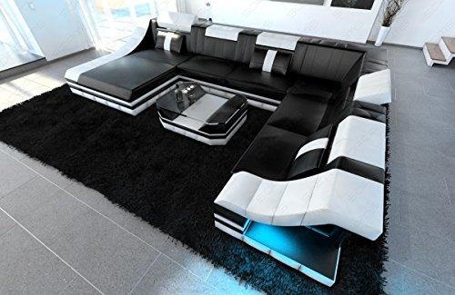 Design Wohnlandschaft Turino XXL mit LED Beleuchtung
