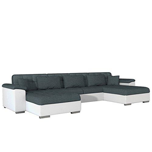 Ecksofa Wicenza Dot, Design Wohnlandschaft, Big Sofa Couch mit Schlaffunktion Bettfunktion, Eckcouch U-Form, Große Farbauswahl (Soft 017 + Dot 95)