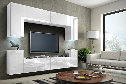 FUTURE 1 Moderne Wohnwand, Exklusive Mediamöbel, TV-Schrank, Schrankwand, TV-Element Anbauwand, Neue Garnitur, Große Farbauswahl (RGB LED-Beleuchtung Verfügbar) (Weiß MAT base / Weiß HG front, RGB Led)