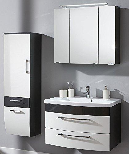 Komplett Badmbel Set Hochglanz anthrazit wei Spiegel Badezimmer Waschplatz