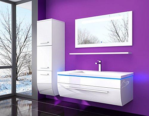 90 cm Weiss Badmöbel set mit einem Hängeschrank Atlantis Hochglanz Lackiert Spiegel mit beleuchtung, Waschbecken