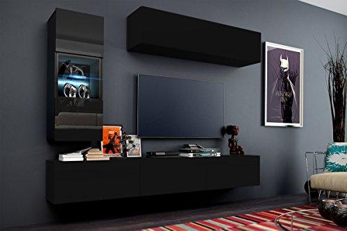 FUTURE 12 Wohnwand Anbauwand Möbel Set Wohnzimmer Schrank Wohnzimmerschrank Matt Schwarz Weiß LED RGB Beleuchtung (Front: Matt Schwarz / Korpus: Matt Schwarz, LED rot)