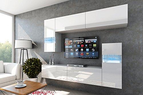 FUTURE 31 Wohnwand Anbauwand TV-Schrank Möbel Wohnzimmer Wohnzimmerschrank Wand Schrank Hochglanz Weiß Schwarz LED RGB Beleuchtung (31/HG/W/2, LED blau)