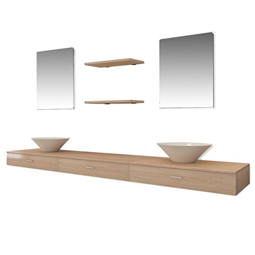 vidaXL 7-tlg. Badmöbel Set Waschtisch Unterschrank Waschbecken Regal Spiegel Badezimmer