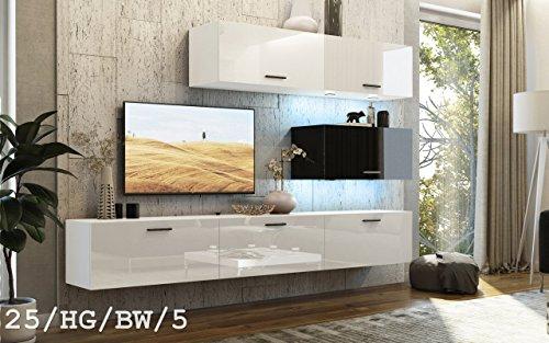 FUTURE 25 Wohnwand Anbauwand TV-Schrank Möbel Wohnzimmer Wohnzimmerschrank Hochglanz Weiß Schwarz LED RGB Beleuchtung (25/HG/BW/5, LED blau)