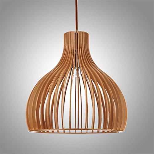 Retro Pendelleuchte aus Holz Ländlich Hängelampe Pendellampe Hängeleuchte Vintage Lampenschirm aus Holz für Esstisch Küche Wohnzimmer Restaurant (Typ-2)