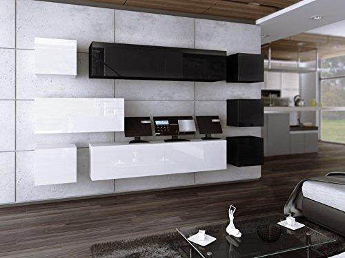 Wohnwand FUTURE 18 Anbauwand Moderne Wohnwand Hochglanz Weiß Schwarz/ Matt Weiß Schwarz Exklusive Mediamöbel (Hochglanz Schwarz Weiß)