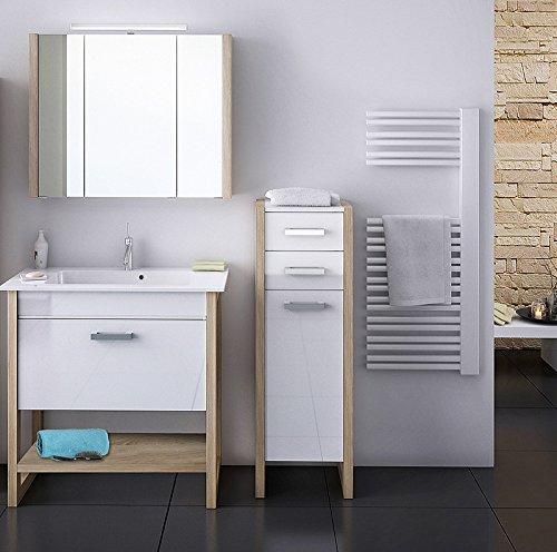 Badmbel Set wei, Sonoma Eiche Badezimmer Waschplatz Waschtisch Spiegelschrank