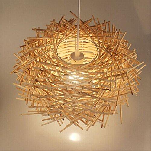 Malovecf Ungewöhnliche Handgemachte Vögel Nest LED Deckenleuchte Twisted Rattan Lampe Pendelleuchten, Holz, 300 * 170MM