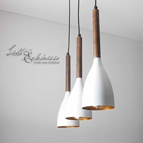 Hängeleuchte Vintage / Weiß Gold / 3x E27 bis zu 60 Watt 230V / Metall Holz / Pendelleuchte Esstisch / höhenverstellbar / Küche Wohnzimmer Esszimmer Beleuchtung