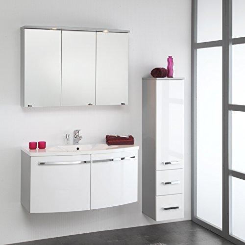 Badezimmer Set Hochglanz wei Badmbel Waschtisch Bad Waschplatz Spiegelschrank