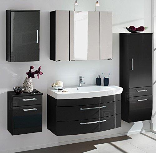 5-tlg Badezimmer Badmbel Set Hochglanz anthrazit Spiegelschrank Waschplatz