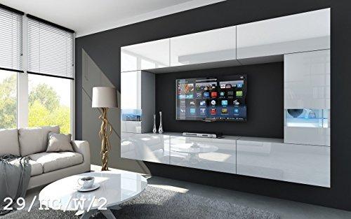 FUTURE 29 Wohnwand Anbauwand Wand Schrank TV-Schrank Wohnzimmerschrank Wohnzimmer Hochglanz Weiß Schwarz LED RGB Beleuchtung (29/HG/W/2, LED weiß)