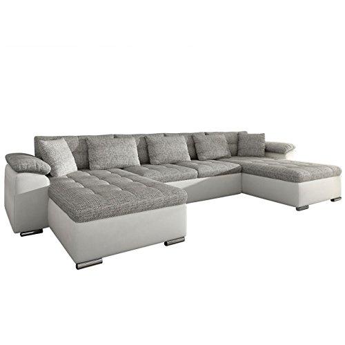 Ecksofa Wicenza! Design Big Sofa Eckcouch Couch! mit Schlaffunktion Bettfunktion! Wohnlandschaft! U-Form, Große Farbauswahl (Soft 017 + Lawa 05)