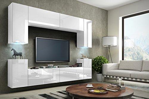 FUTURE 1 Wohnwand Anbauwand Schrankwand Möbel Wand TV-Ständer Wohnzimmer Hochglanz Schwarz / Weiß Beleuchtung LED RGB (Front: Hochglanz Weiß / Korpus: Matt Weiß, RGB)