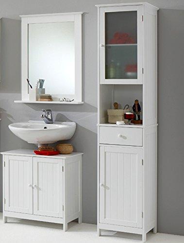 3tlg Landhaus Badezimmer Set Badmbel Lack wei Waschplatz Badezimmerschrank