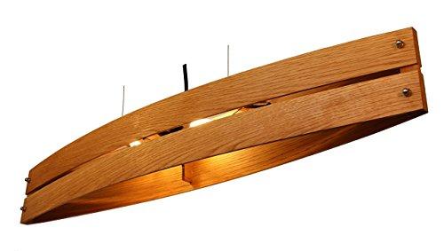 Hängeleuchte Holz CANOT - Pendelleuchte mit Textilkabel- made in Germany - LED Designer Wand- und Deckenleuchte Massivholz Eiche 2xE14 Esszimmer, Wohnzimmer, Flur handgemachte Hängelampe