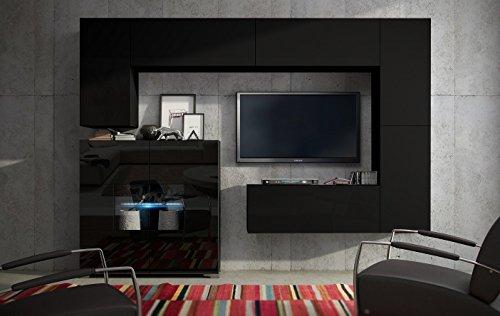 FUTURE 8 Wohnwand Anbauwand Moderne Wohnwand Wandschrank Matt Weiß Schwarz Wohnzimmer Möbel Wohnzimmerschrank TV-Ständer LED RGB Beleuchtung (Front: Matt Schwarz / Korpus: Schwarz Hochglanz, Möbel)