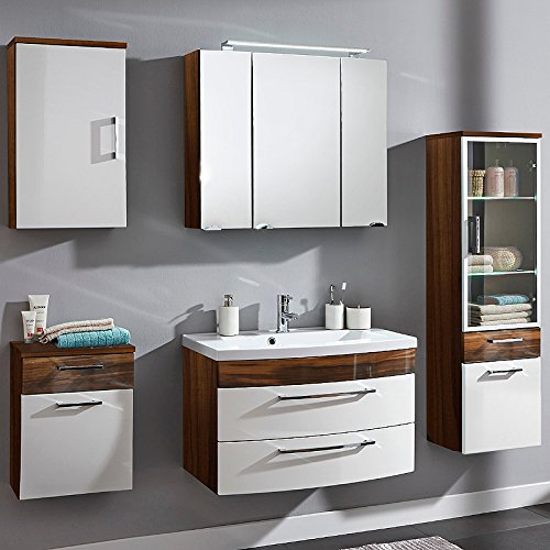 Komplett Badmbel Set Walnuss Hochglanz wei Waschplatz Badezimmer Bad