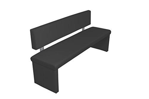"Cavadore Sitzbank ""Charisse"" India Schwarz / Moderne, gepolsterte Bank mit Lehne / Kunstleder-Bank schwarz / Maße inkl. Lehne: 160 x 54 x 83 cm (B x T x H)"