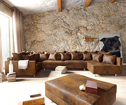 Couch Clovis modular - Ecksofa, Sofa, Wohnlandschaft & Modulsofa (Braun, Sofa XL mit Hocker + Armlehne)