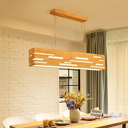 LED Pendelleuchte Holz Esstischlampe Pendellampe Höhenverstellbar Hängelampe Kronleuchter Hängeleuchte Esstisch für Büro Esszimmer Wohnzimmer Schlafzimmer (Warmweiß)