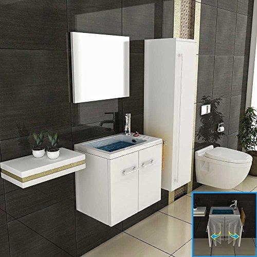 Badmöbel-Set 50 cm in Hochglanz Weiß, 2 tlg.mit 1 Waschplatz mit Mineralgussbecken, Designer Badezimmer-Set mit Softclose-Funktion von Alpenberger