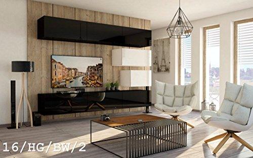 FUTURE 16 Wohnwand Anbauwand Wand Schrank Möbel TV-Schrank Wohnzimmer Wohnzimmerschrank Hochglanz Weiß Schwarz LED RGB Beleuchtung (16/HG/BW/2, Möbel)