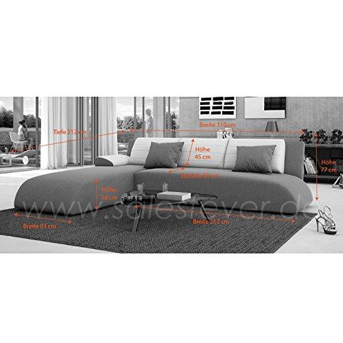 Innocent Ecksofa mit Schlaffunktion aus Kunstleder weiß mit schwarzer Sitzfläche Movia